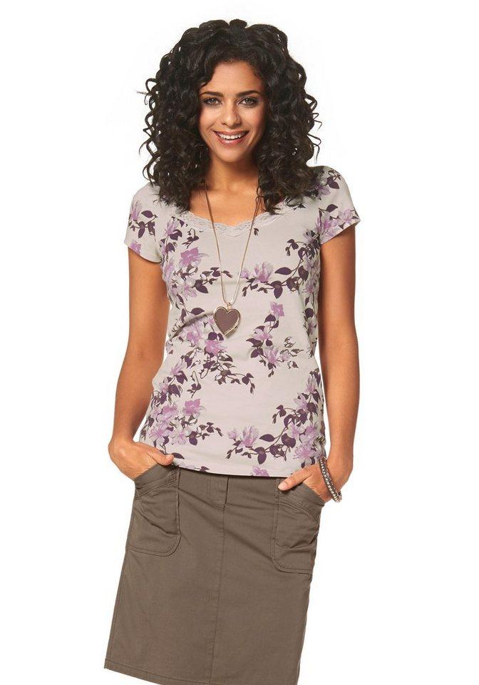 Boysen's V-Shirt mit Spitze und Blumendruck in bedruckt-rosé