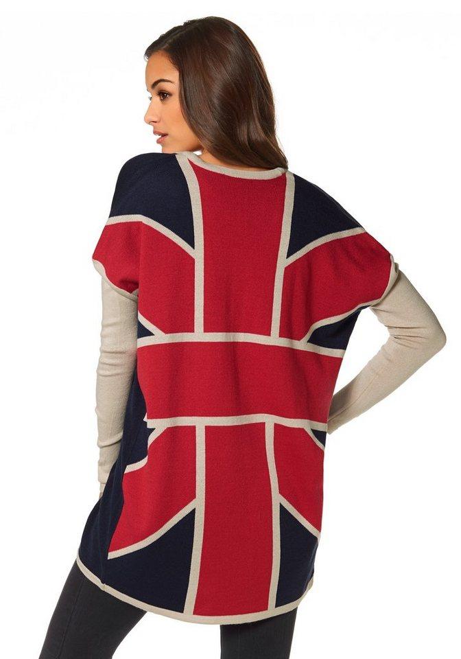 AJC Cardigan im Cocoon-Look Union Jack in blau-beige-rot