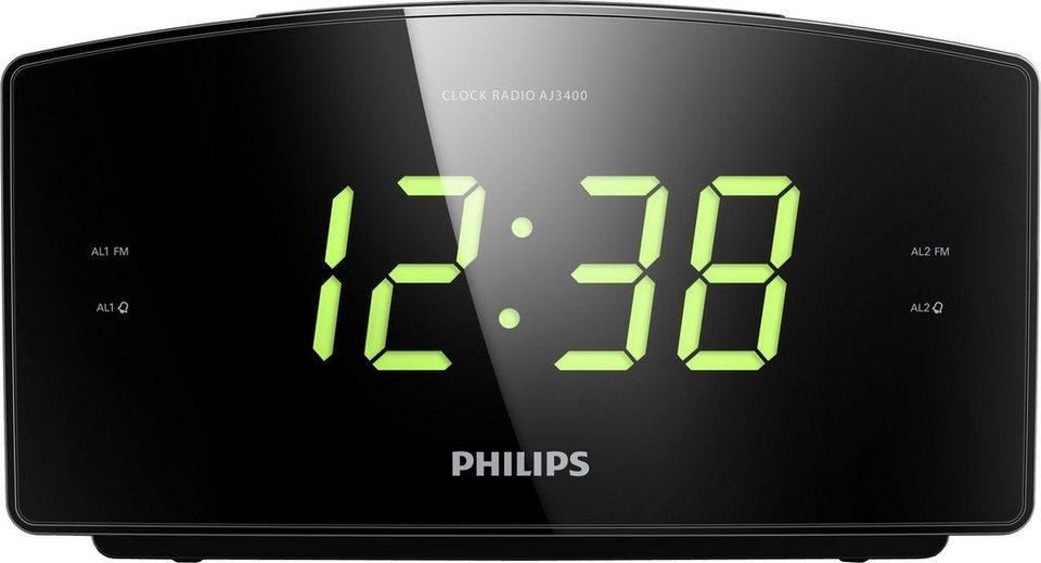 Philips AJ3400 Radiowecker in Schwarz
