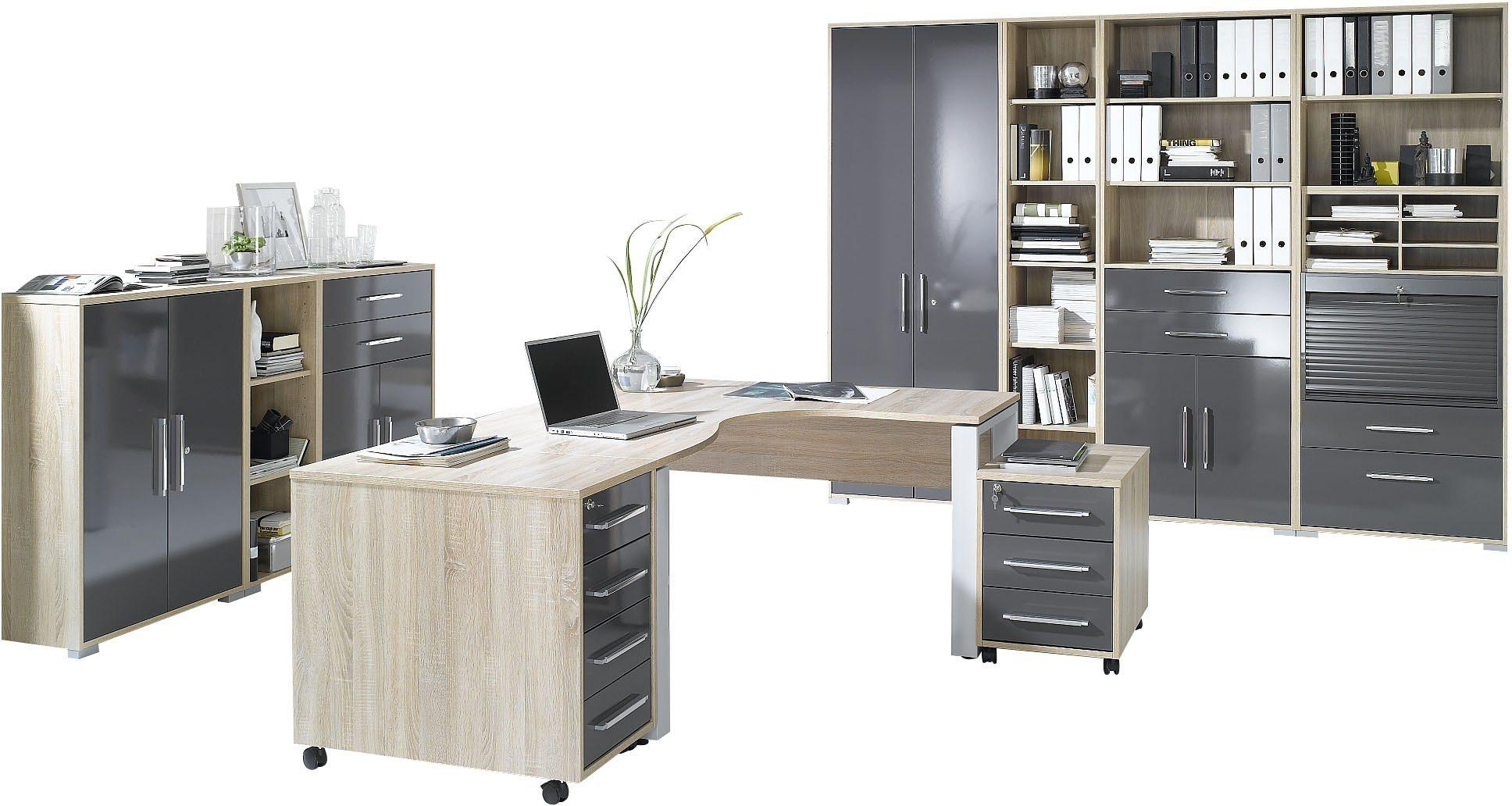 Maja Möbel Büromöbel-Set (10-tlg.) »1203« | Büro > Büromöbel-Serien | Grau - Hochglanz - Weiß | Hochglanz - Glänzend - Kunststoff - Abs | Maja Möbel