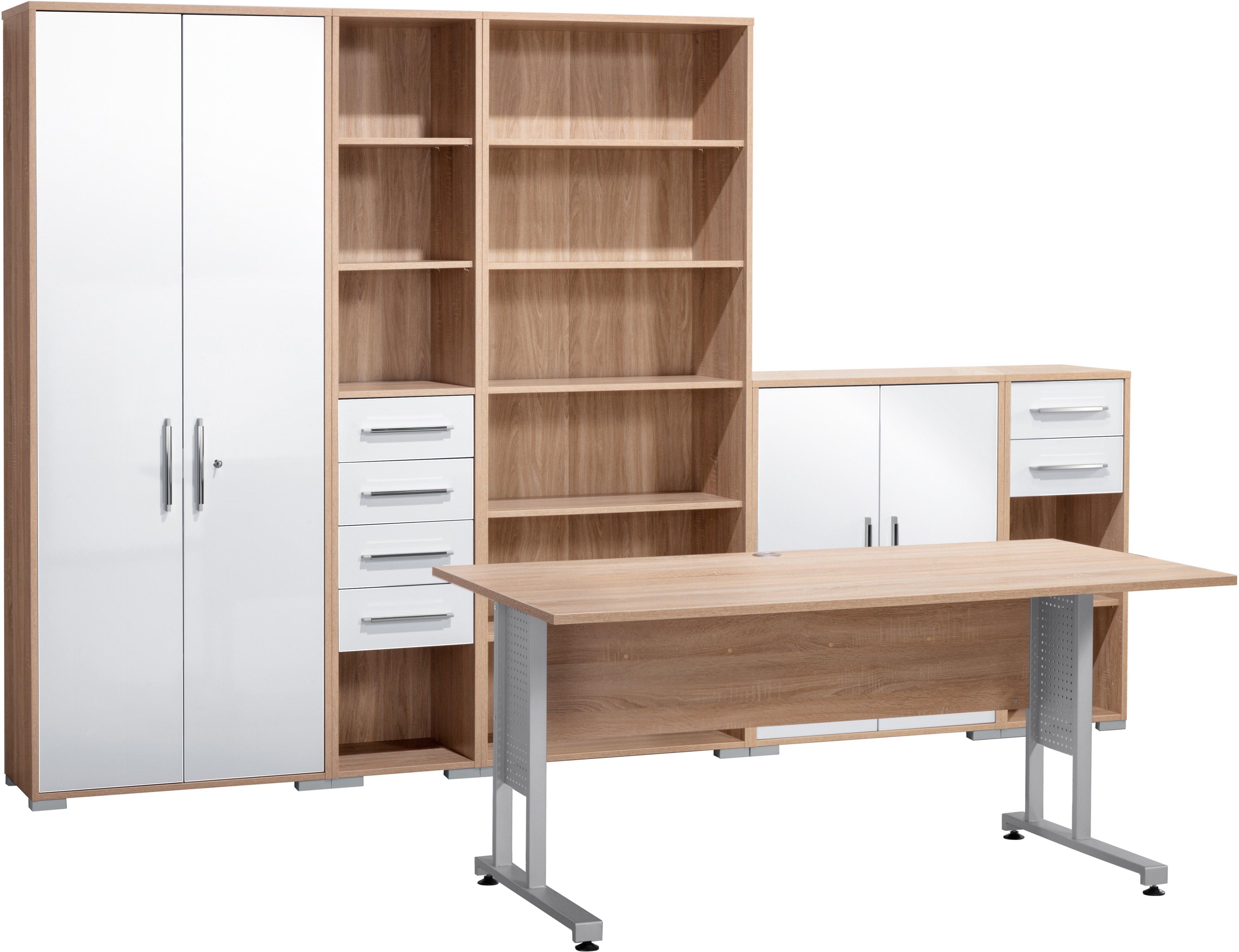 Maja Möbel Büromöbel-Set (6-tlg.) »1200« | Büro > Büromöbel-Serien | Weiß - Hochglanz - Grau | Hochglanz - Glänzend - Metall - Abs | Maja Möbel
