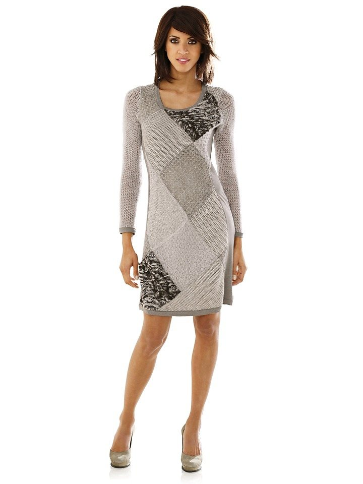 Patchkleid in taupe