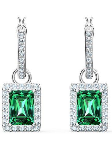 Swarovski Paar Creolen »Angelic Rectangular Ohrringe, grün, rhodiniert, 5559834«, mit Swarovski® Kristallen und abnehmbaren Einhängern