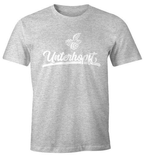 MoonWorks Print-Shirt »Herren Party T-Shirt Unterhopft Bier Fun-Shirt Moonworks®« mit Print