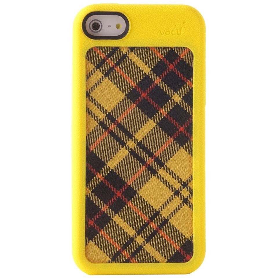VACII Premium »iPhone5C Hülle Echtstoff Rückseite - Linear Yellow«