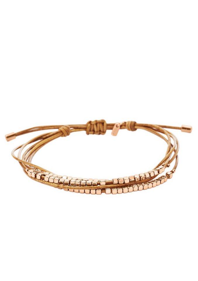 Armband, »JA6422791«, Fossil in roségoldfarben/hellbraun