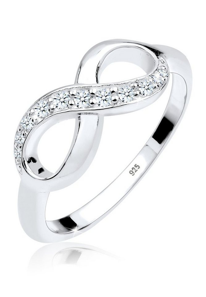 DIAMORE Ring »Infinity Symbol Diamant 0.18 ct. 925 Silber« in Weiß