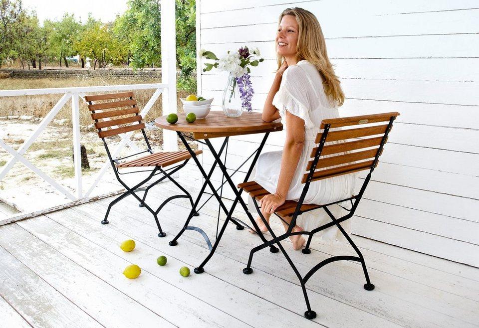 3 tlg gartenm belset schlossgarten 2 st hle tisch 70 cm stahl eukalyptusholz klappbar. Black Bedroom Furniture Sets. Home Design Ideas