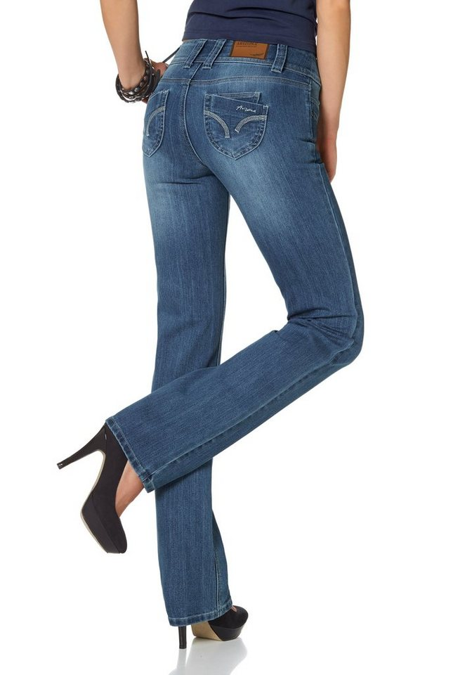 Arizona Gerade Jeans »Push-up« in blue-used
