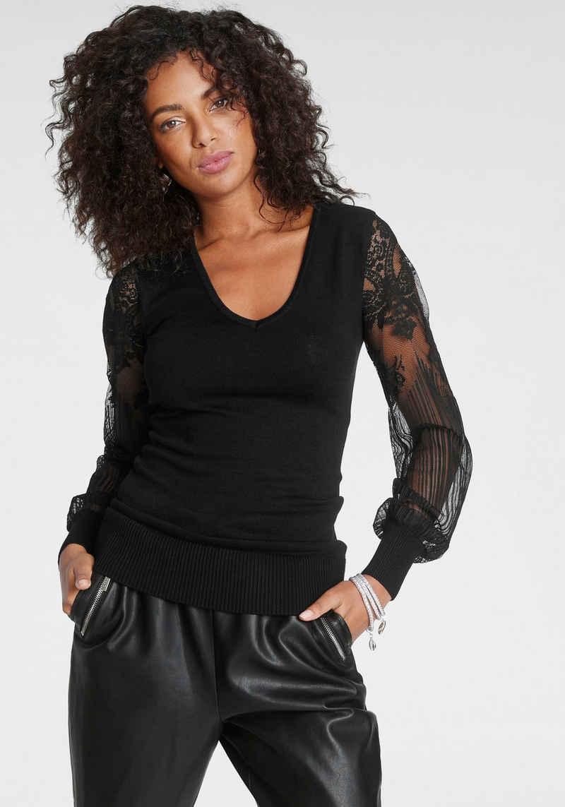 Melrose V-Ausschnitt-Pullover mit Ärmeln aus Spitze - NEUE KOLLEKTION