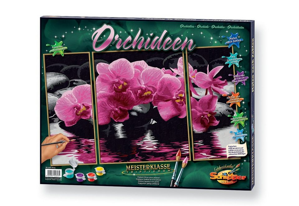 Malen nach Zahlen, »Triptychon - Orchideen«, Schipper
