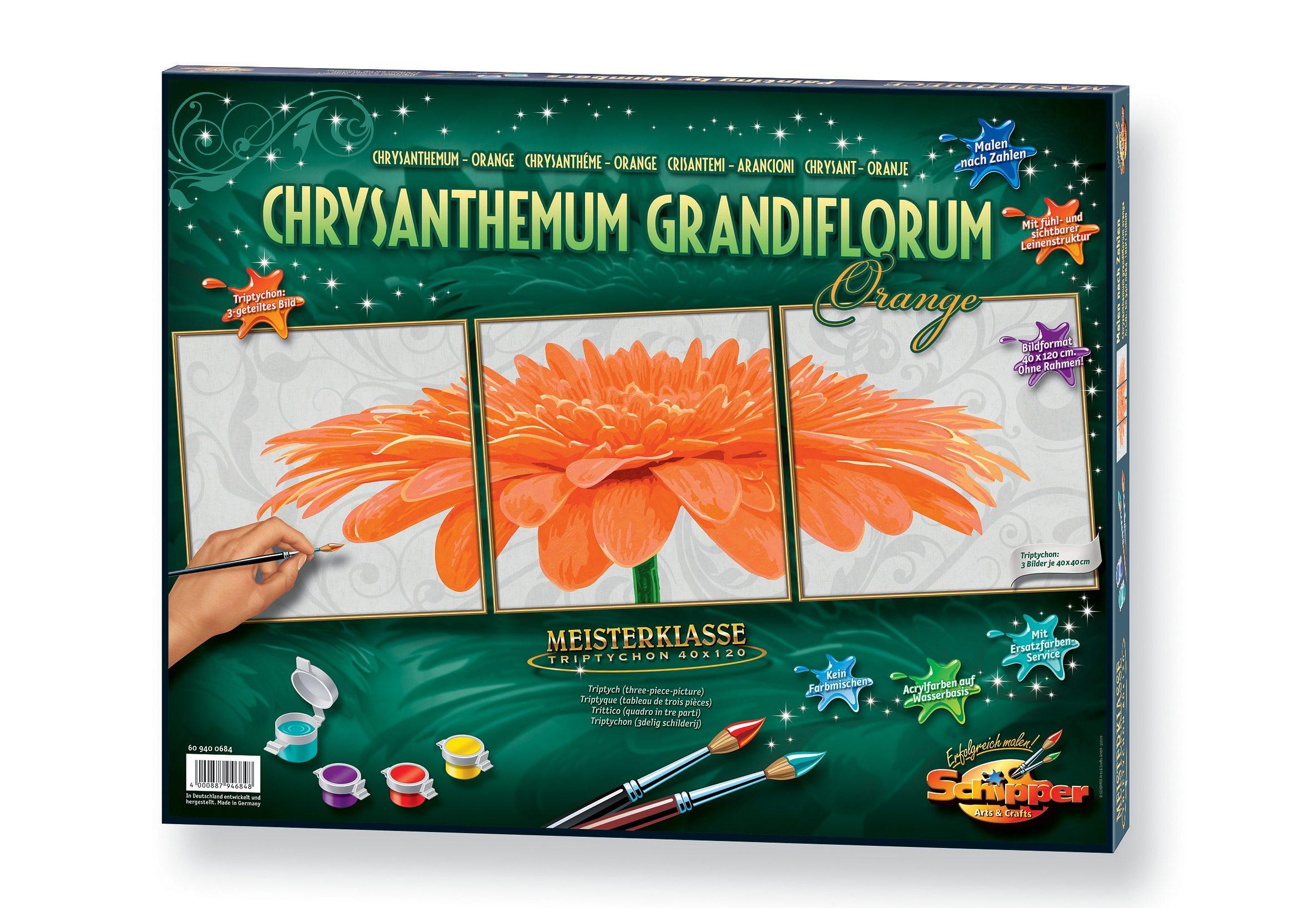 Malen nach Zahlen, »Triptychon Großformat - Chrysanthemum grandiflorum orange«, Schipper