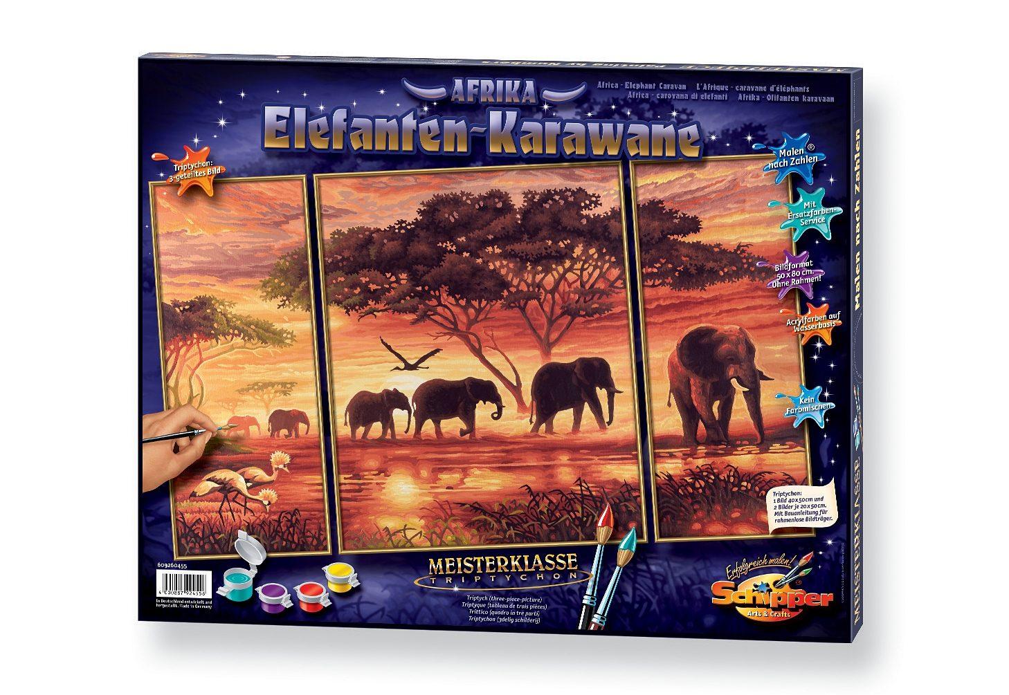 Schipper, Malen nach Zahlen, »Triptychon - Elefanten Karawane«