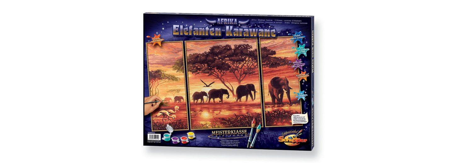 Malen nach Zahlen, »Triptychon - Elefanten Karawane«, Schipper