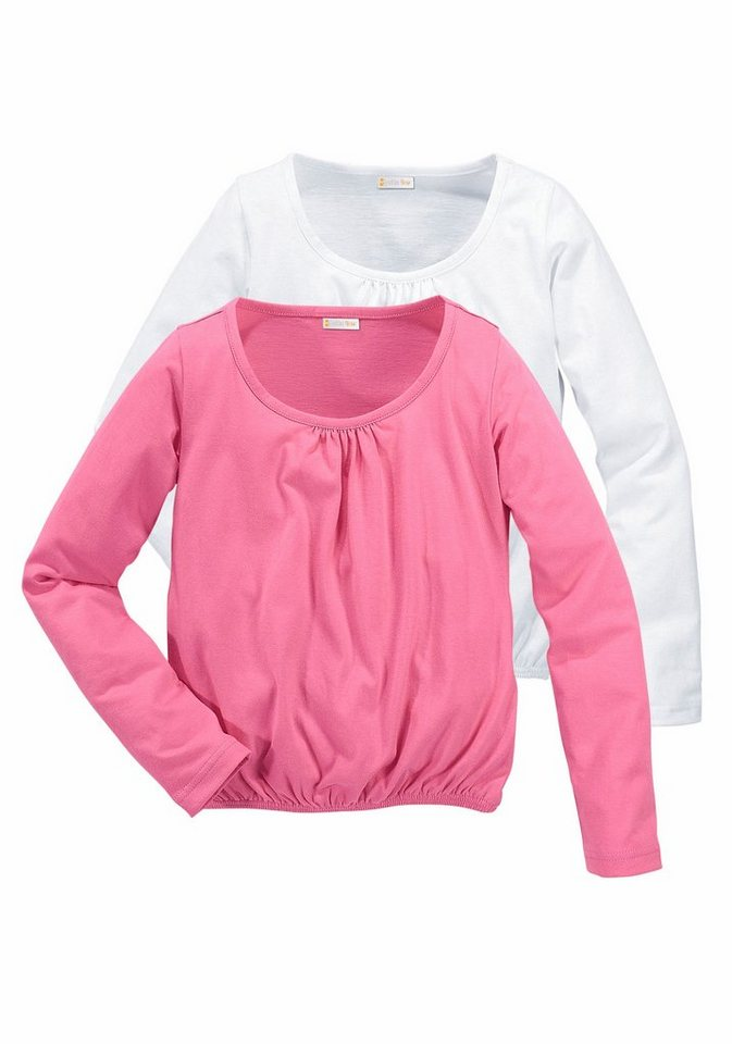 PETITE FLEUR Langarmshirt für Mädchen (Packung, 2 Stück) in Rosa-Weiß