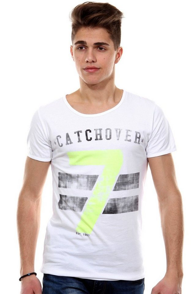 CATCH T-Shirt Rundhals slim fit in weiss/gelb