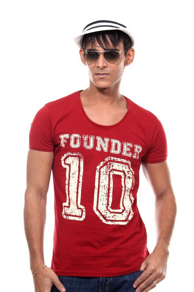 CATCH T-Shirt Rundhals slim fit in dunkelrot