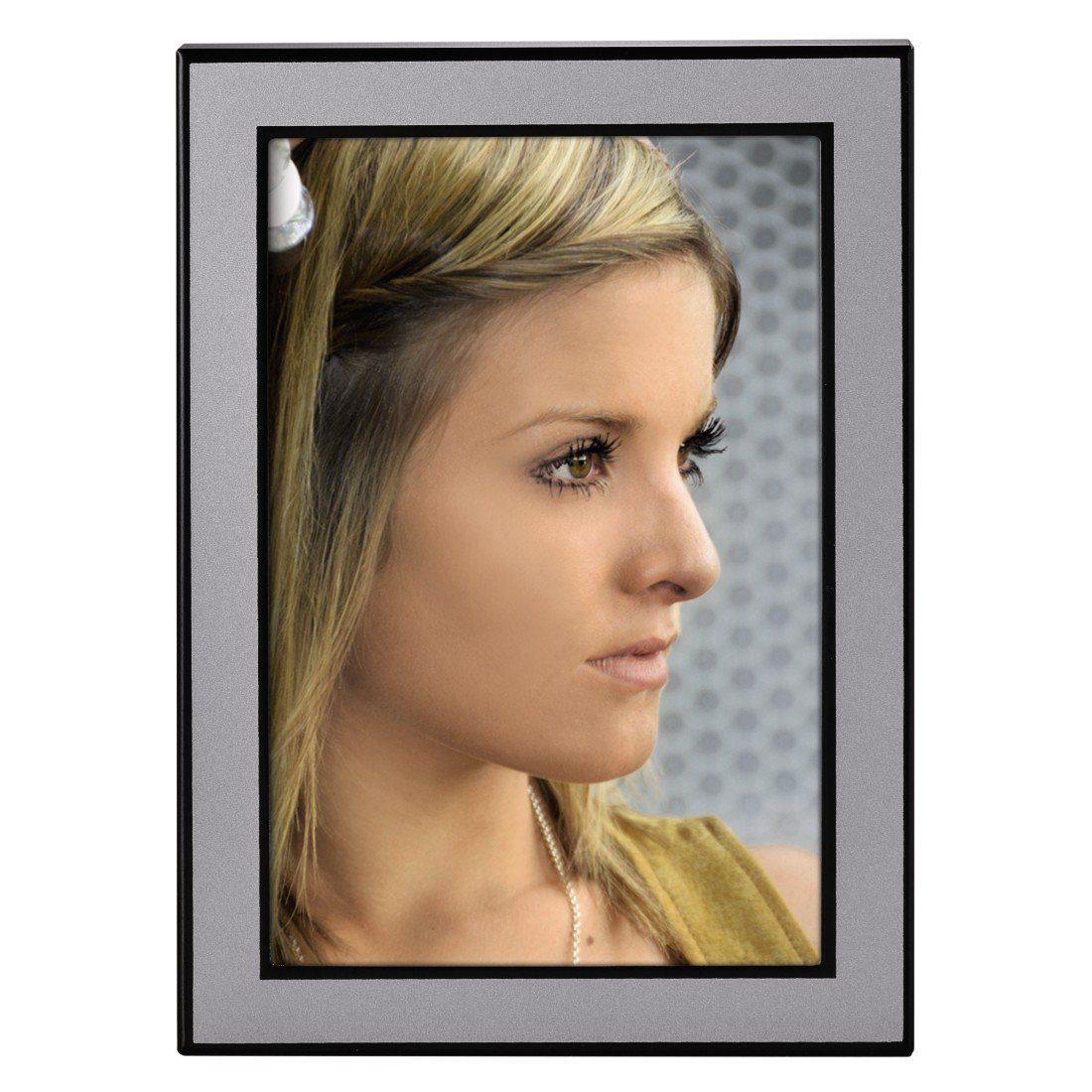 Hama Porträtrahmen Philadelphia, 10 x 15 cm, Silber/Schwarz