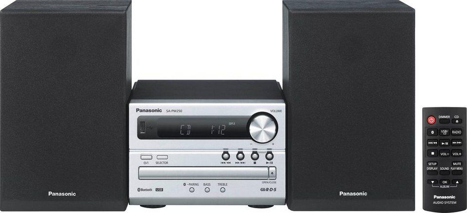 Panasonic SC-PM250EG-S Microanlage, Bluetooth, RDS, 1x USB in Silberfarben