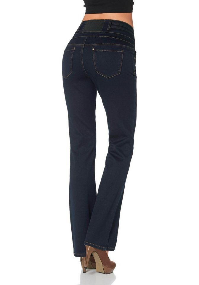 Arizona Bootcut-Jeans »High-Waist« Bund mit Stretch-Einsatz hinten in rinsed