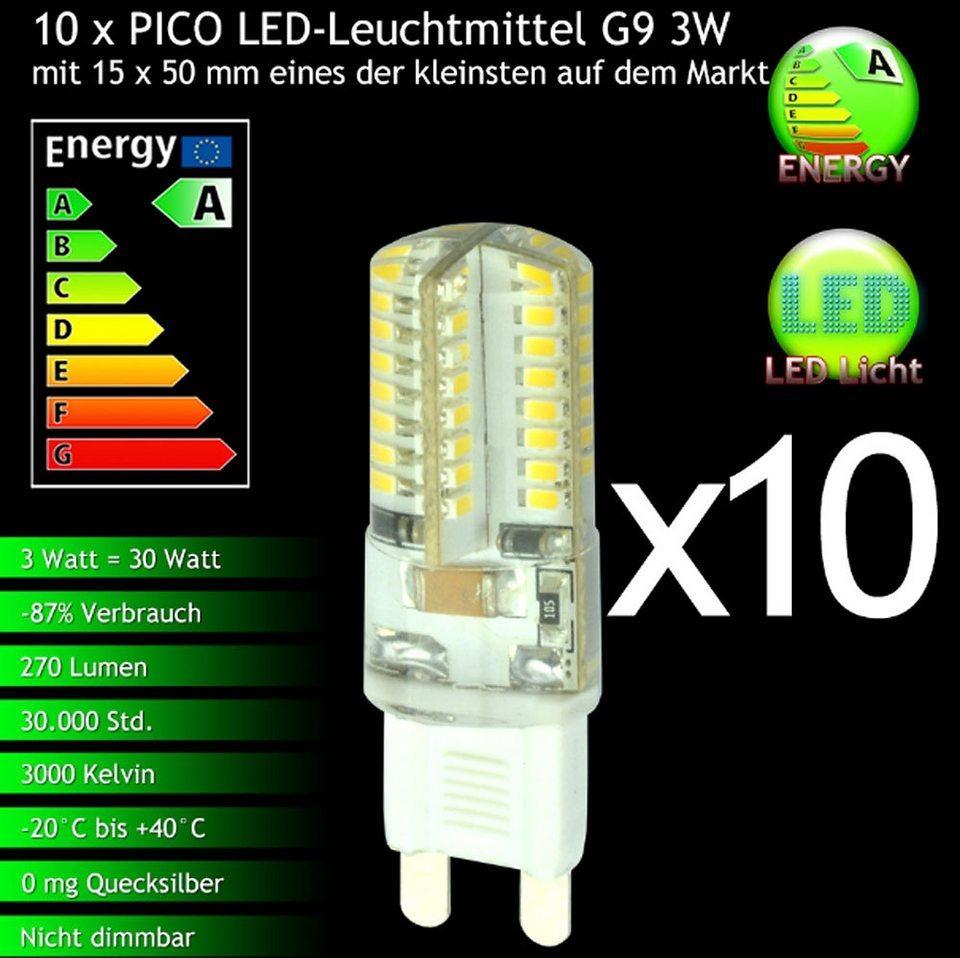 s luce 10er set pico led g9 leuchtmittel 3w warmwei online kaufen otto. Black Bedroom Furniture Sets. Home Design Ideas