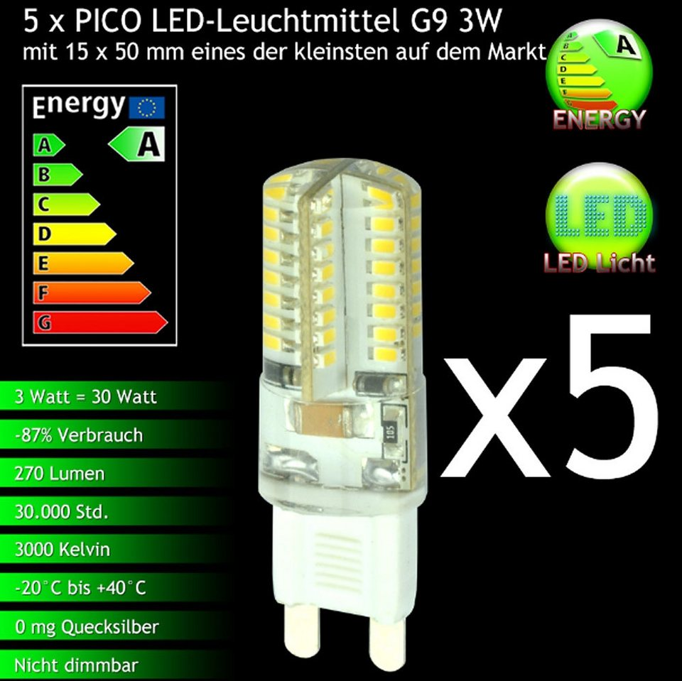 s luce 5er set pico led g9 leuchtmittel 3w warmwei. Black Bedroom Furniture Sets. Home Design Ideas