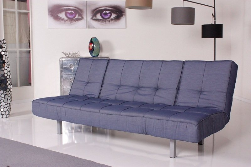 Kasper-Wohndesign Relax Schlafsofa Selina Bettsofa Denim Stoff 3er Sofa »KAWOLA«