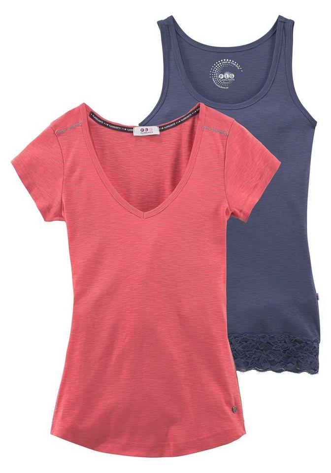 Flashlights T-Shirt mit Spitzentop (Set, 2 tlg.) in hummer-blau