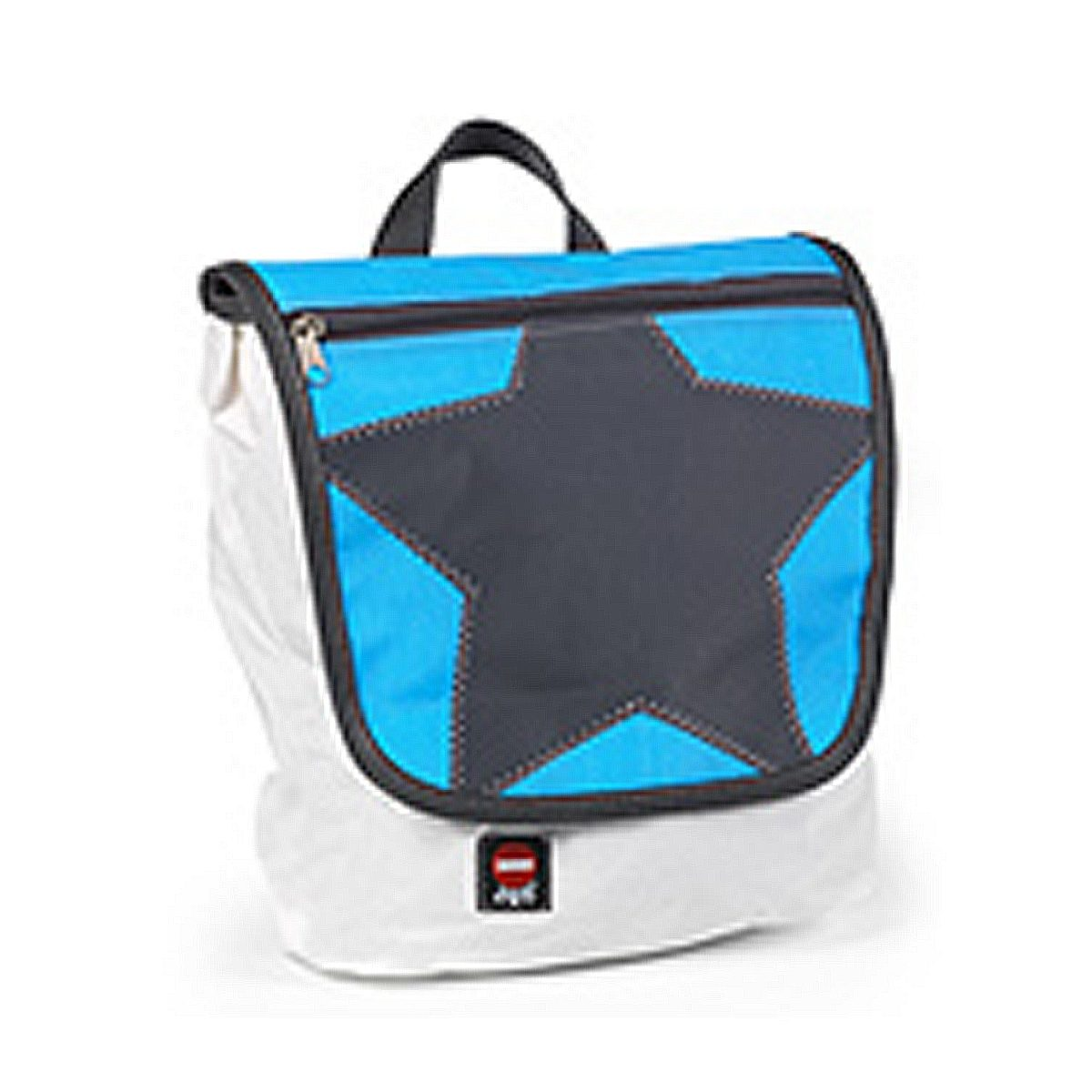 KLEIN UND MORE Klein und More 360Grad Kinderrucksack, Klappe blau, Stern grau