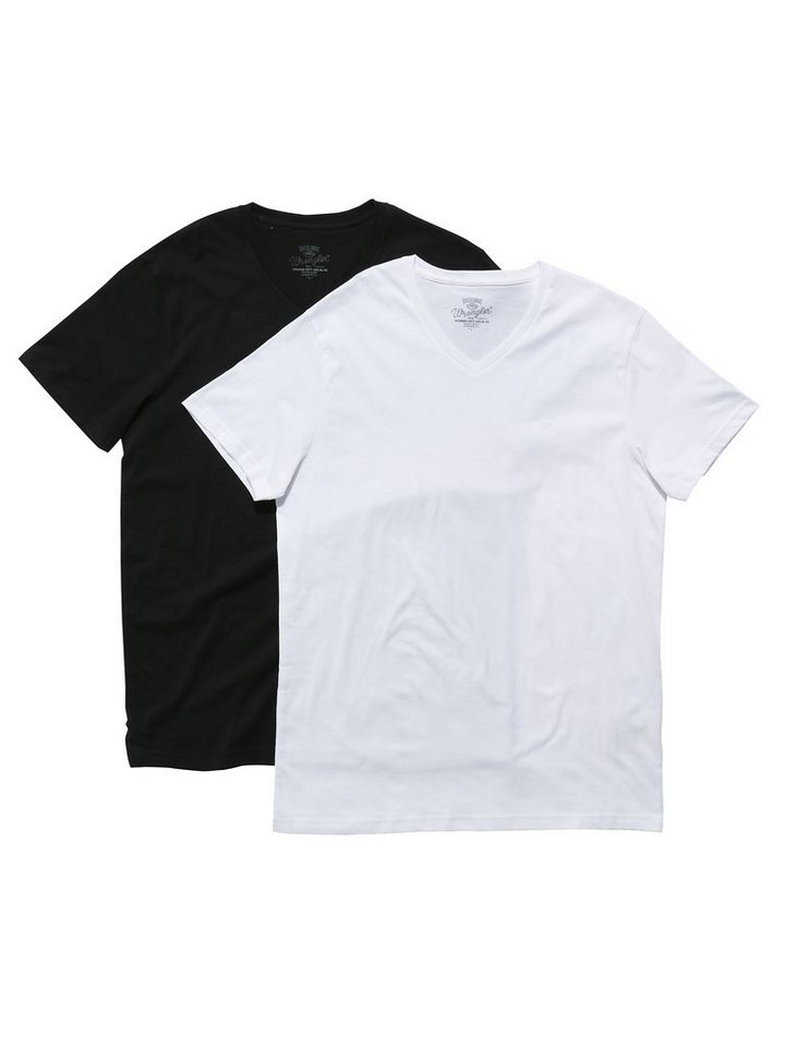 Wrangler T-Shirt »2 PACK V-NECK T BLACK« in BLACK