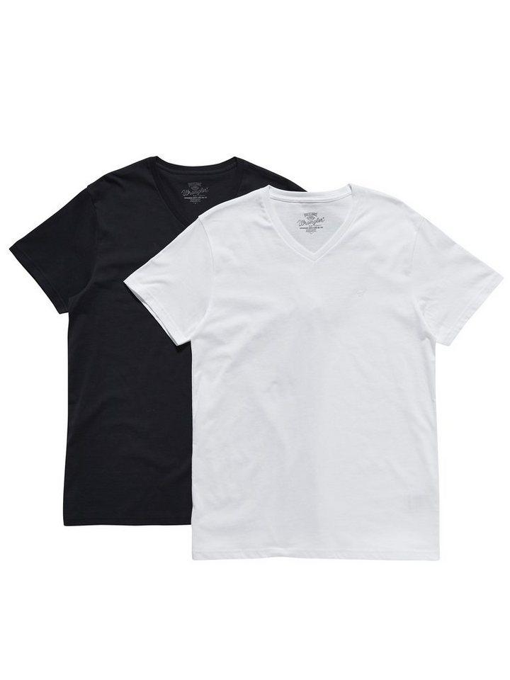 Wrangler T-Shirt »2 PACK V-NECK T NAVY« in NAVY