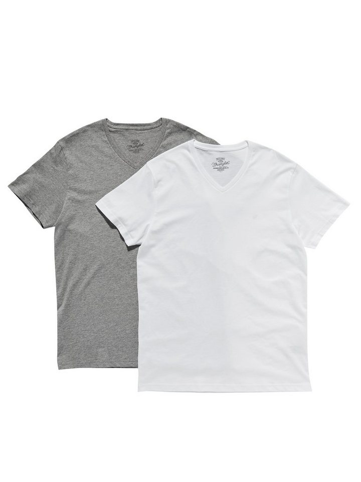 Wrangler T-Shirt »2 PACK V-NECK T MID GREY MEL« in MID GREY MEL