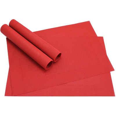 Platzset, »Tischsets BORDA 4 Stk. rot Platzsets 46 cm«, matches21 HOME & HOBBY