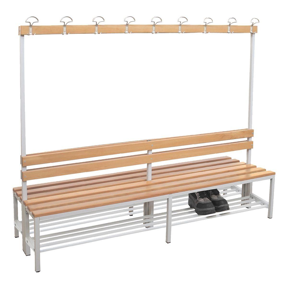 Doppel-Sitzbank mit Garderobe und Schuhrost