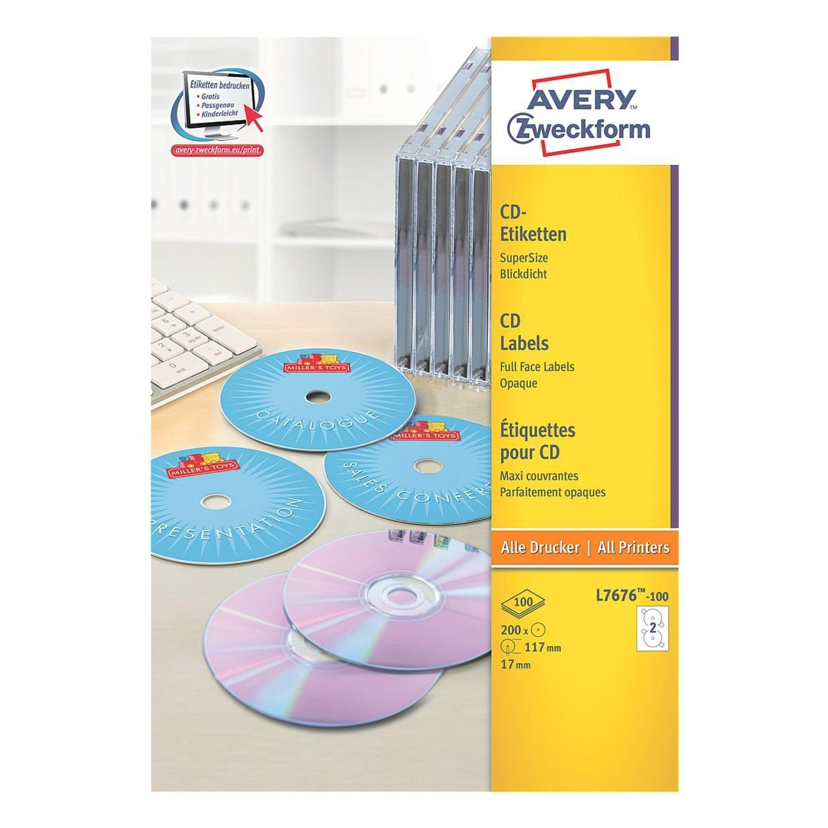 Avery Zweckform 200er-Pack CD-/DVD-Label »L7676-100«