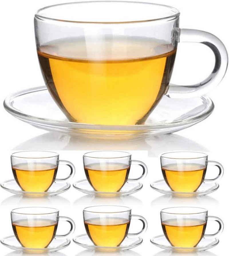 Dimono Tasse »Tee & Kaffeetassen Set«, Borosilikatglas, Espresso Gläser & Untertasse