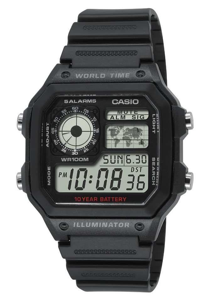 Casio Collection Chronograph »AE-1200WH-1AVEF« in schwarz