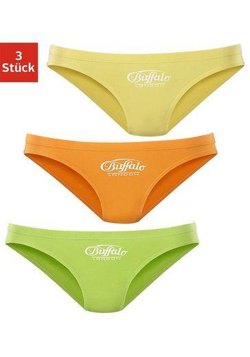 Buffalo Bikinislip (3 Stück)mit Logo-Druck vorn