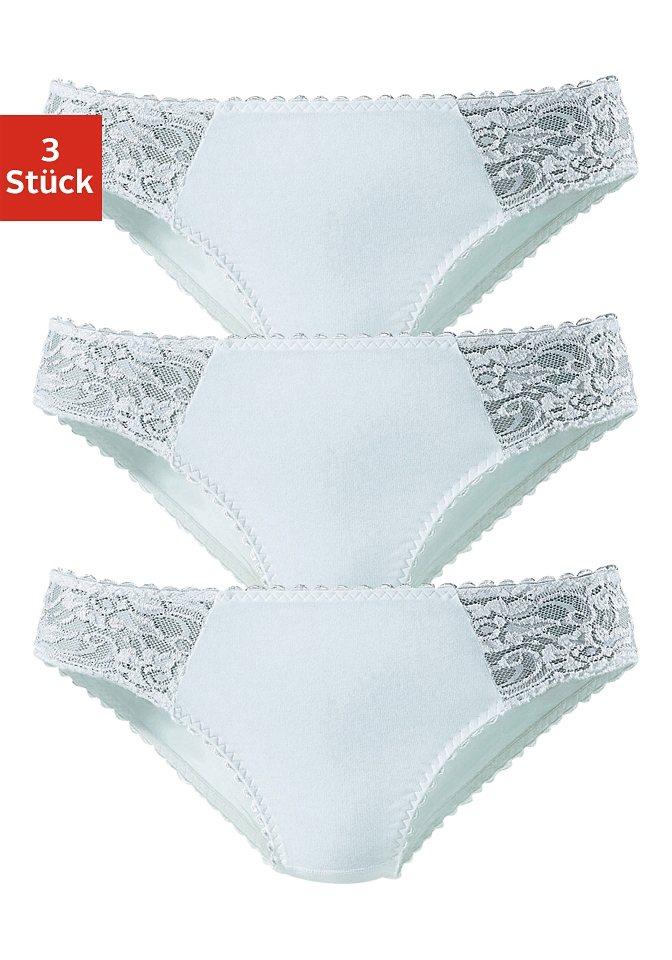 Petite Fleur Jazzpants (3 Stück) mit floraler Spitze, »Cotton made in Africa« in 3x weiß