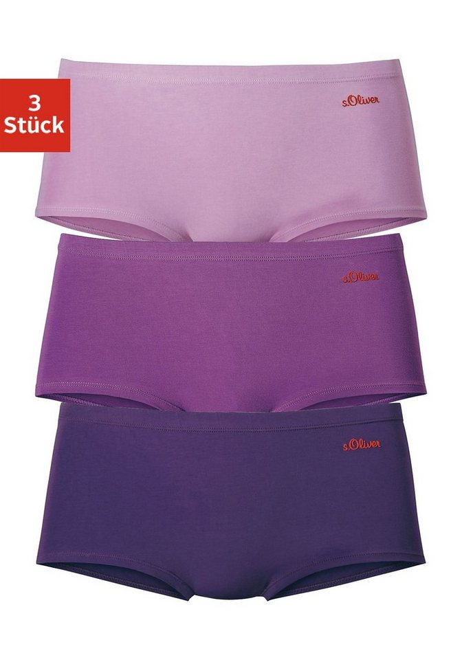s.Oliver RED LABEL Bodywear Microfaser-Panties (3 Stück) in 3x beere-lila