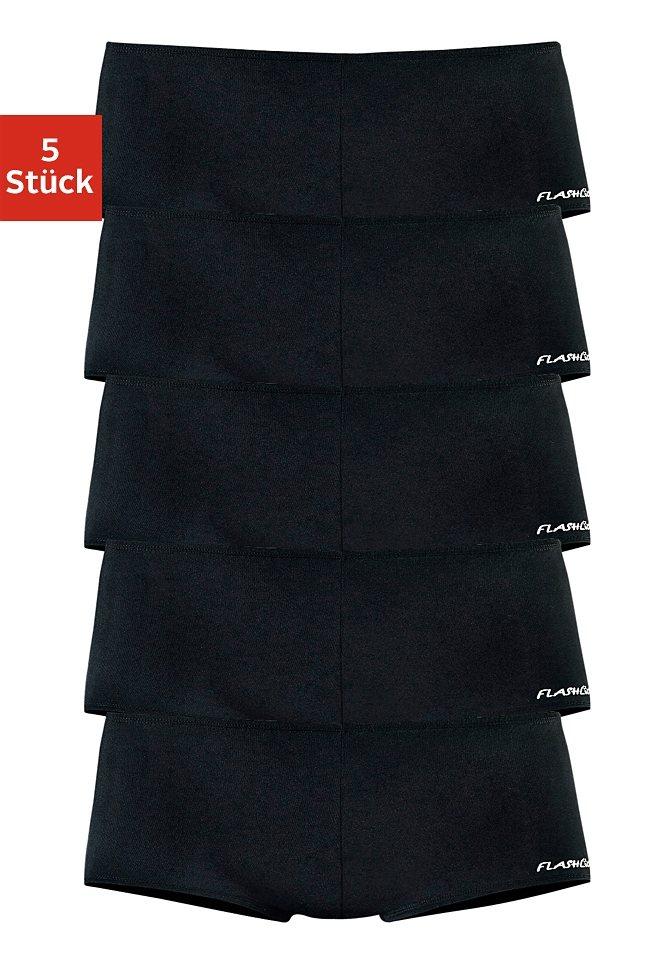 Flashlights Microfaser-Panties mit stark angeschnittenem Bein und knalligen Farben (5 Stück) in 5x schwarz