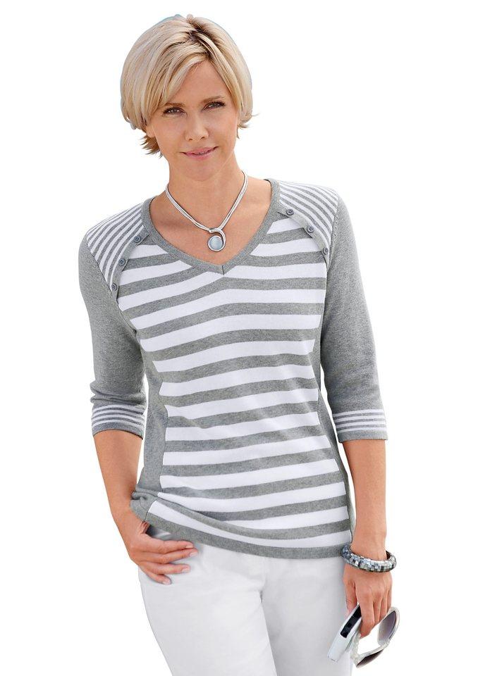 Collection L. Pullover aus reiner Baumwolle in grau-weiß-gestreift