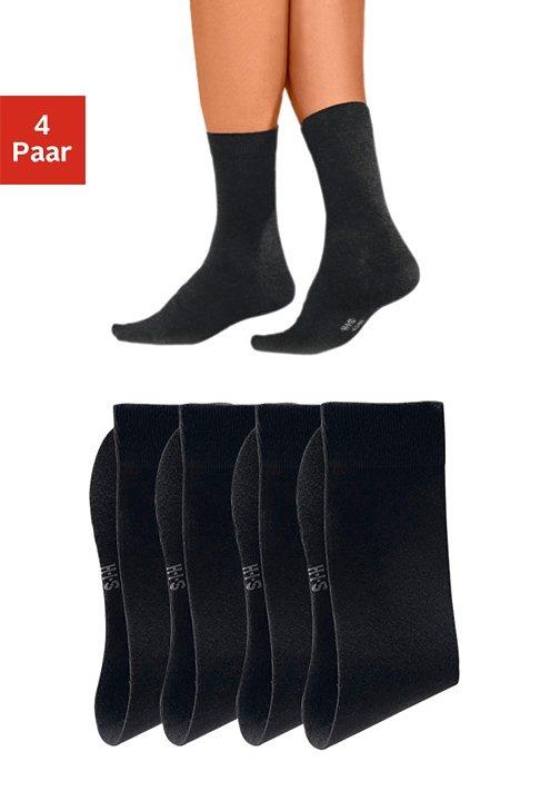 H.I.S Basic-Socken (4 Paar) mit hohem Baumwollanteil in 4x schwarz
