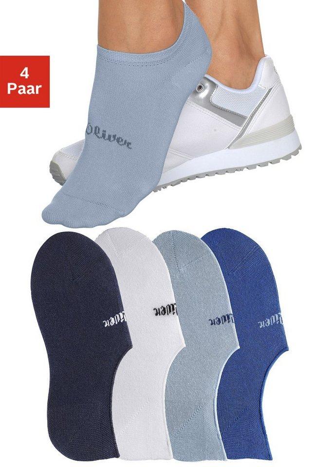 s.Oliver RED LABEL Bodywear Offene Füßlinge (4 Paar) mit verstärkter Ferse und Spitze in weiß + marine + royalblau + hellblau