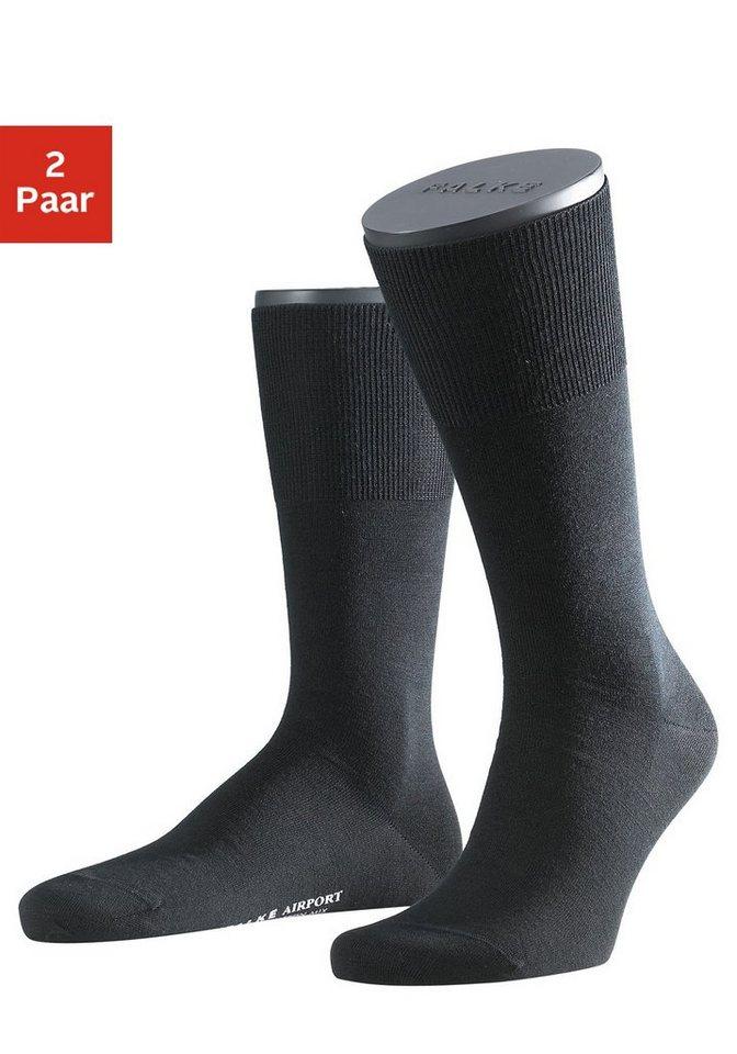 Falke Socken »Airport« (2 Paar) außen mit wärmender Schurwolle in 2x schwarz