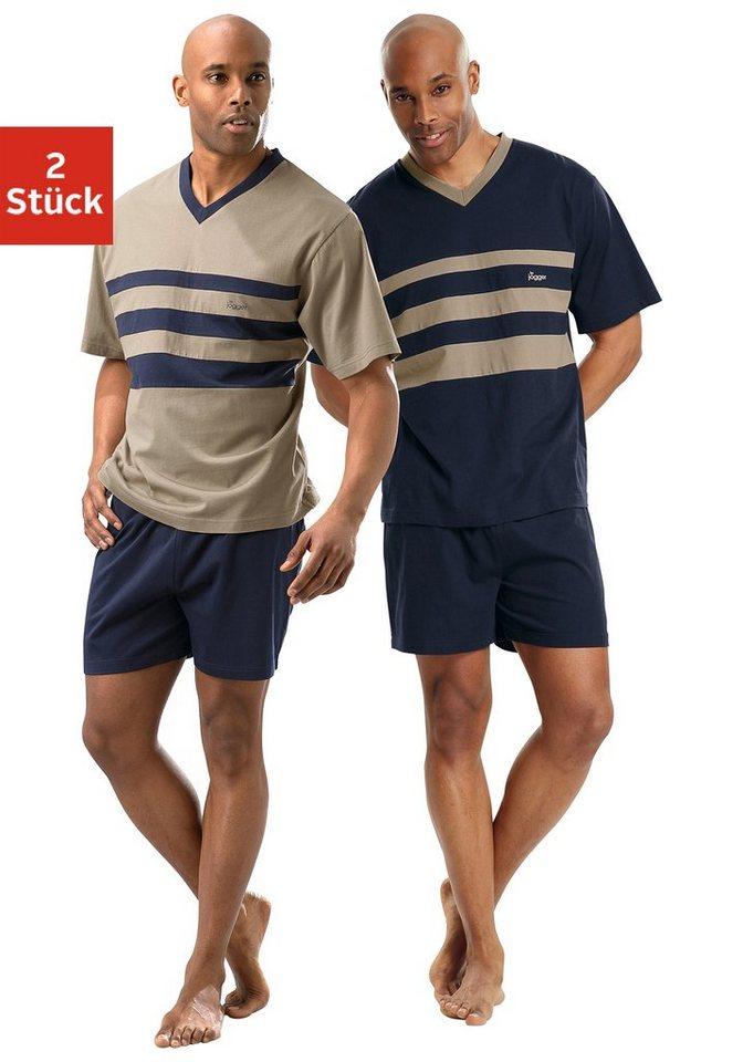Le Jogger, Shorty (2 Stück), Pyjamas, kurz in marine+beige