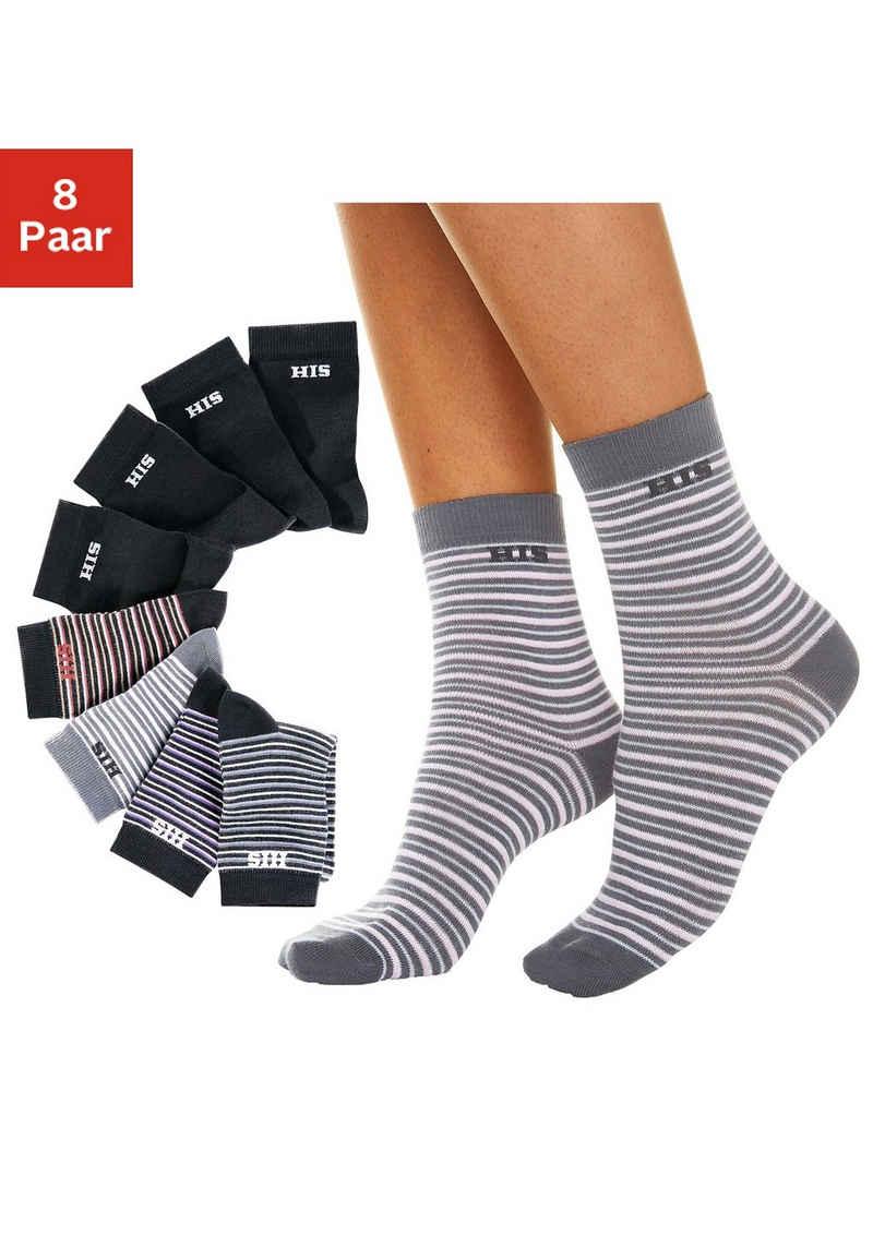 H.I.S Socken (8-Paar) geringelt und unifarben