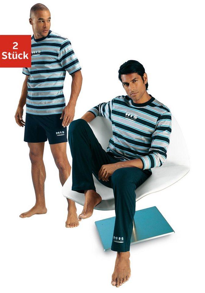 H.I.S Pyjama-Set als Shorty oder in langer Form in marine-grau