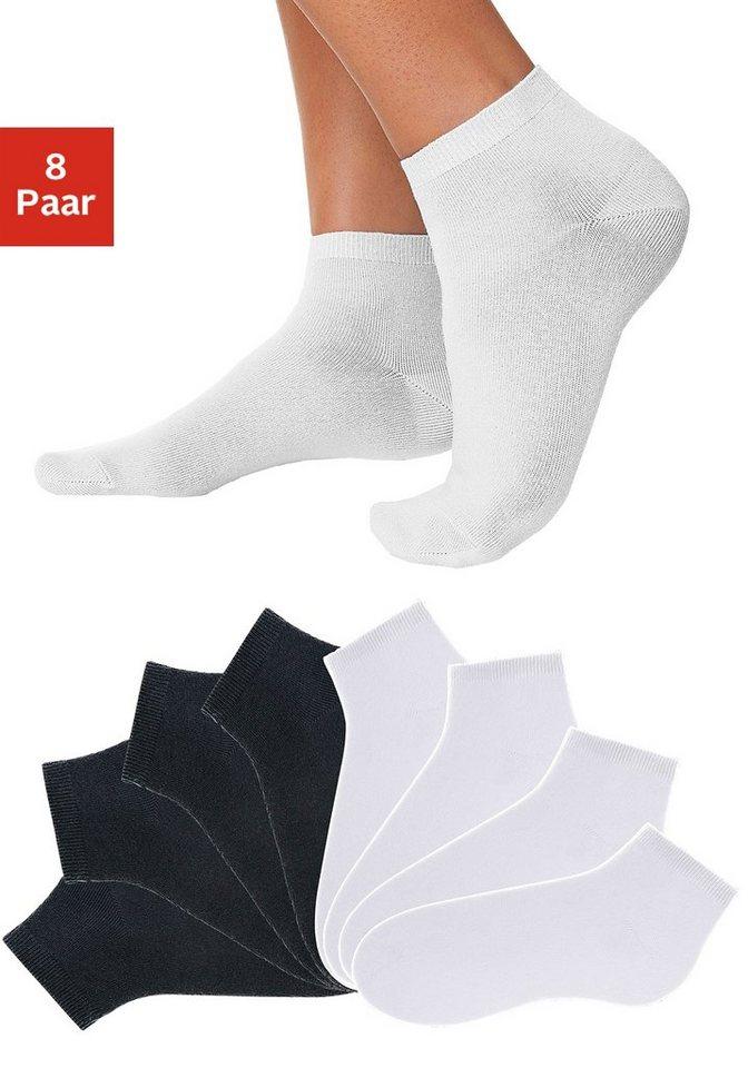 GO IN Füßlinge (8 Paar) in verschiedenen Unifarben in 4x schwarz + 4x weiß