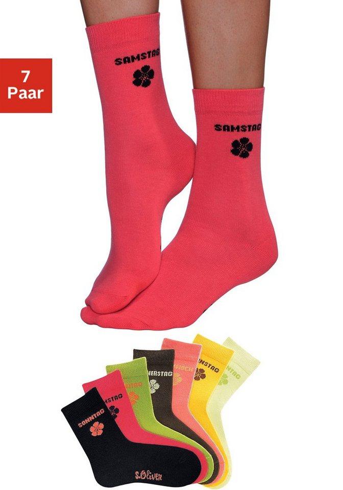 s.Oliver RED LABEL Bodywear Wochentagssocken (7 Paar) in leuchtenden Farben in 7x farblich sortiert